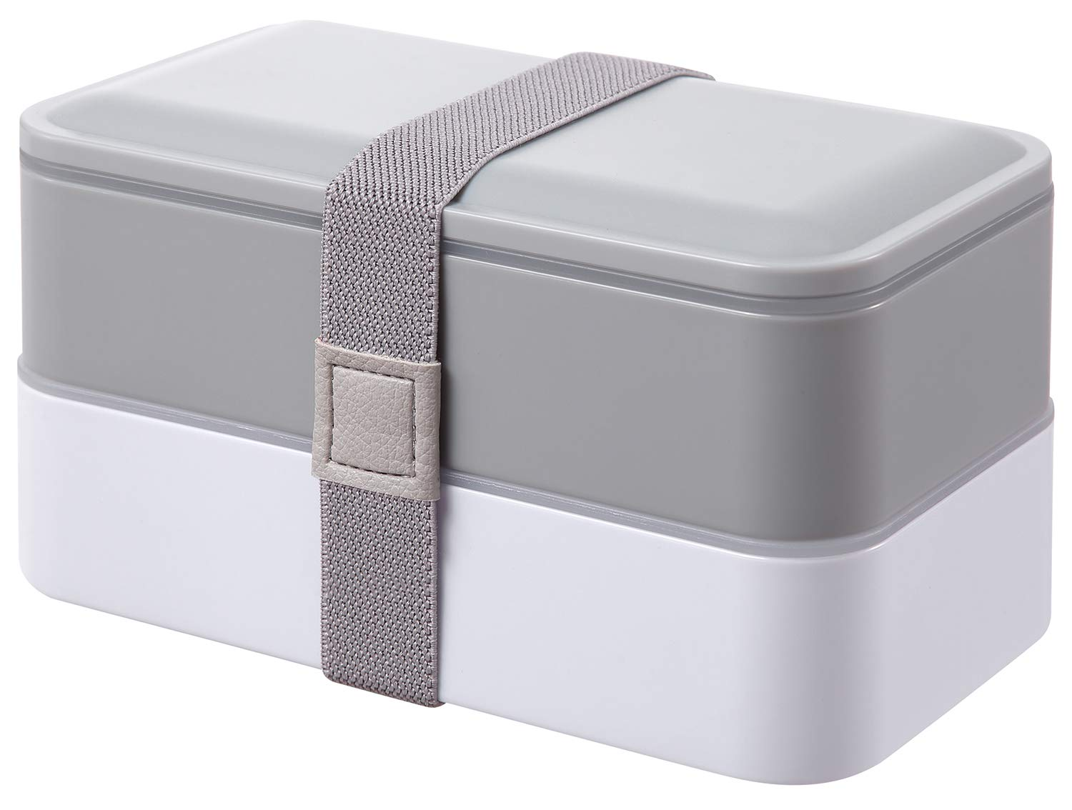 PuTwo Lunch Box 2 Tiers Bento Box BPA Free with Reusable Cutlery Japanese Style Lunch Boxes for Microwave Freezer Dishwasher Bento Lunch Box for Kids Adults - Gray