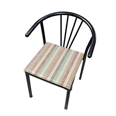 Bardic FICOO Home Patio Chair Cushion Colorful Geometric Stripe Square Cushion Non-Slip Memory Foam Outdoor Seat Cushion, 16x16 Inch: Home & Kitchen