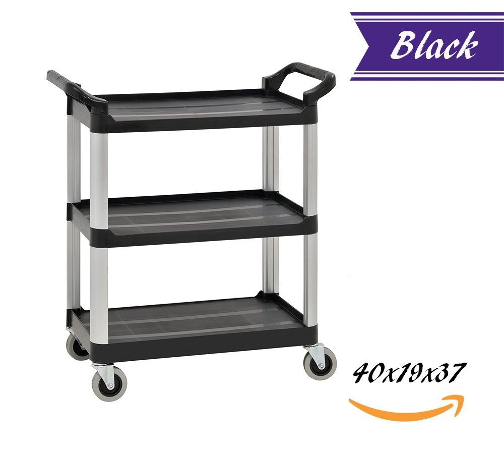 3 Tier Utility Cart, Heavy Duty Rolling Service Cart, Black Bus Cart 350 lbs Load with Open Shelving 40''L x 19''W x 37''H, Easy-Grip Both Side Handles and Swivel Wheels, Plastic and Aluminum