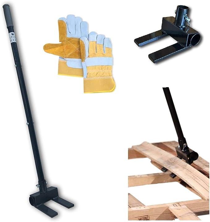 Pallet Buster Deck Wrecker Tool Für Palettenprojekte Und Deck Demontage Mit 3 Teiliger Stange Und Strapazierfähigen Leder Arbeitshandschuhen Baumarkt