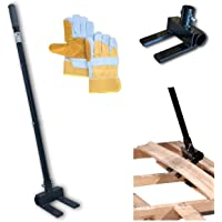 Pallet Buster Deck Wrecker Tool - for Pallet Projects and Deck Disassembly with 3-Piece Pole and Bonus Heavy Duty…