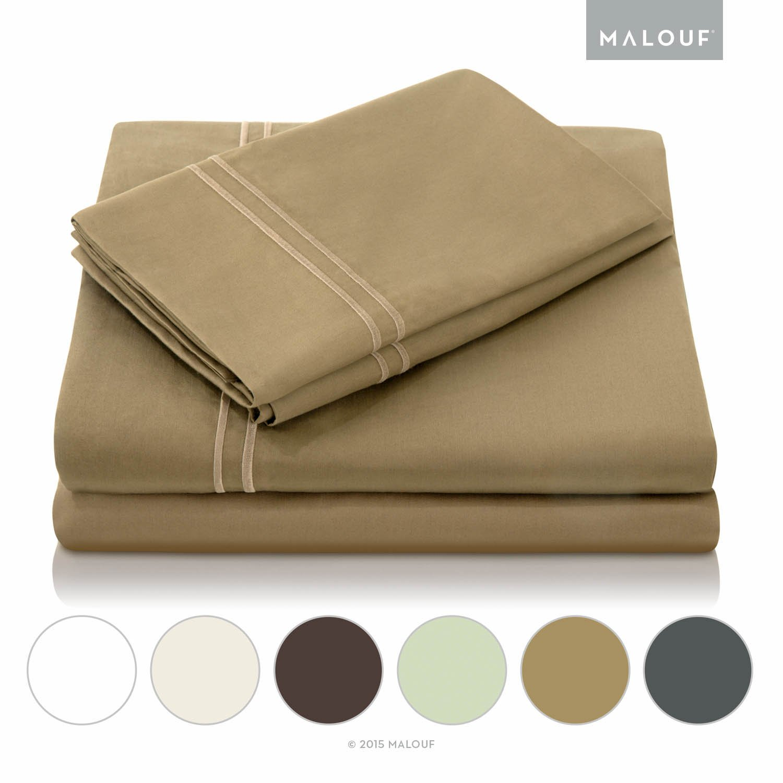 MALOUF 600 Thread Count Genuine Egyptian Cotton Single Ply Bed Sheet Set - King - Khaki by MALOUF