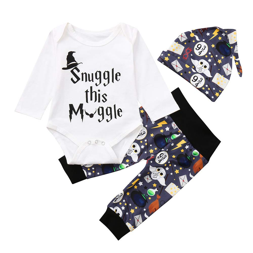 Sameno Newborn Infant Baby Boy Girl Letter Romper Cartoon Long Sleeve Tops Pants Hat Outfits Set