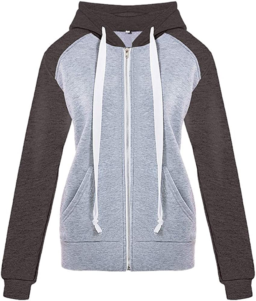 /♥ETHELDING/♥ Hooded Coats,Women Zip Up Hoodie Matching Color Casual Sports Jacket Outwear Soft Drawstring