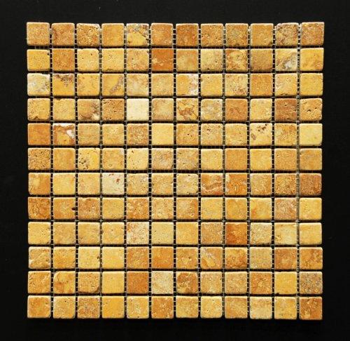 Gold/Yellow 1 X 1 Tumbled Travertine Mosaic Tile