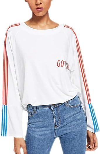 Camisetas Mujer Primavera Otoño Camisas Tops Vintage Manga ...