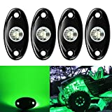 4 Pods LED Rock Light CREE Chips, Ampper Universal Fit Waterproof Multi Function Accent Glow Neon LED Light Kits for Cars Offroad Truck Boat Deck Underbody Interior Exterior (Green)