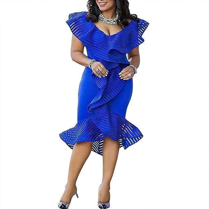 Amazon.com: Verwin - Vestido de media pantorrilla para mujer ...