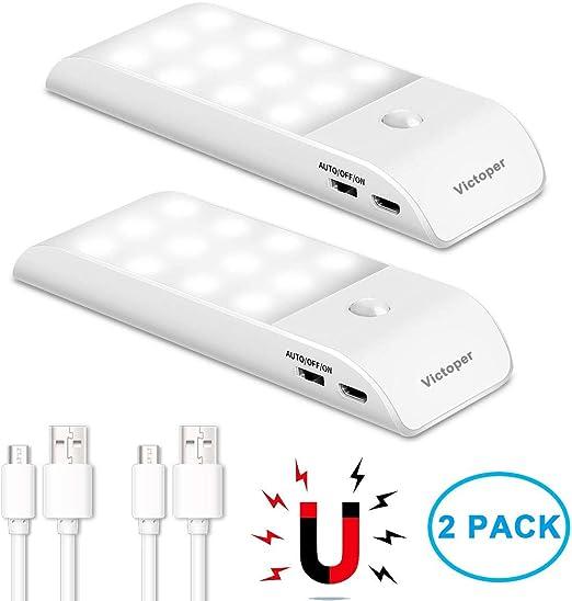 Batterie Rechargeable USB OmerIl armoire lumière avec 12 DEL Capteur de Mouvement Lumière