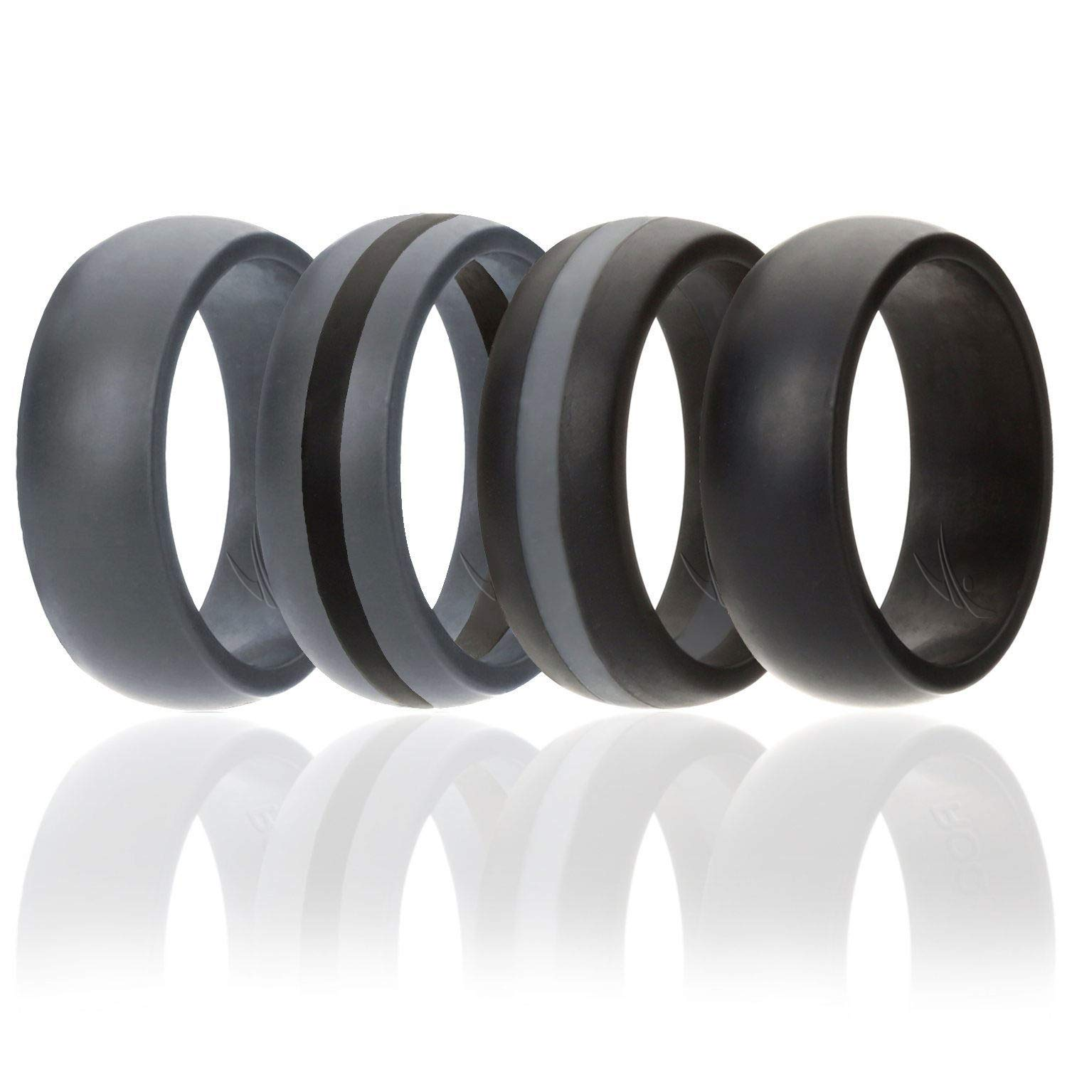 ROQ Silicone Wedding Ring For Men, 4 Pack Silicone Rubber Band - Black, Black With Thin Grey Stripe, Grey With Black Stripe, Grey, Size 12