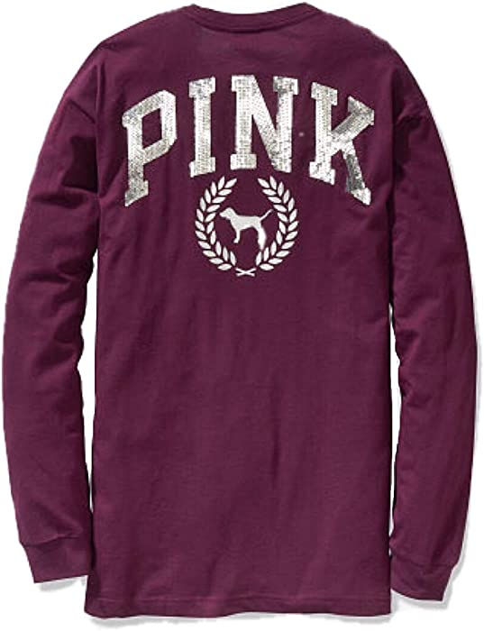 2c5bb6efb Victoria Secret Pink New Bling Long Sleeve Campus TEE-Luscious Plum-Large  at Amazon Women s Clothing store