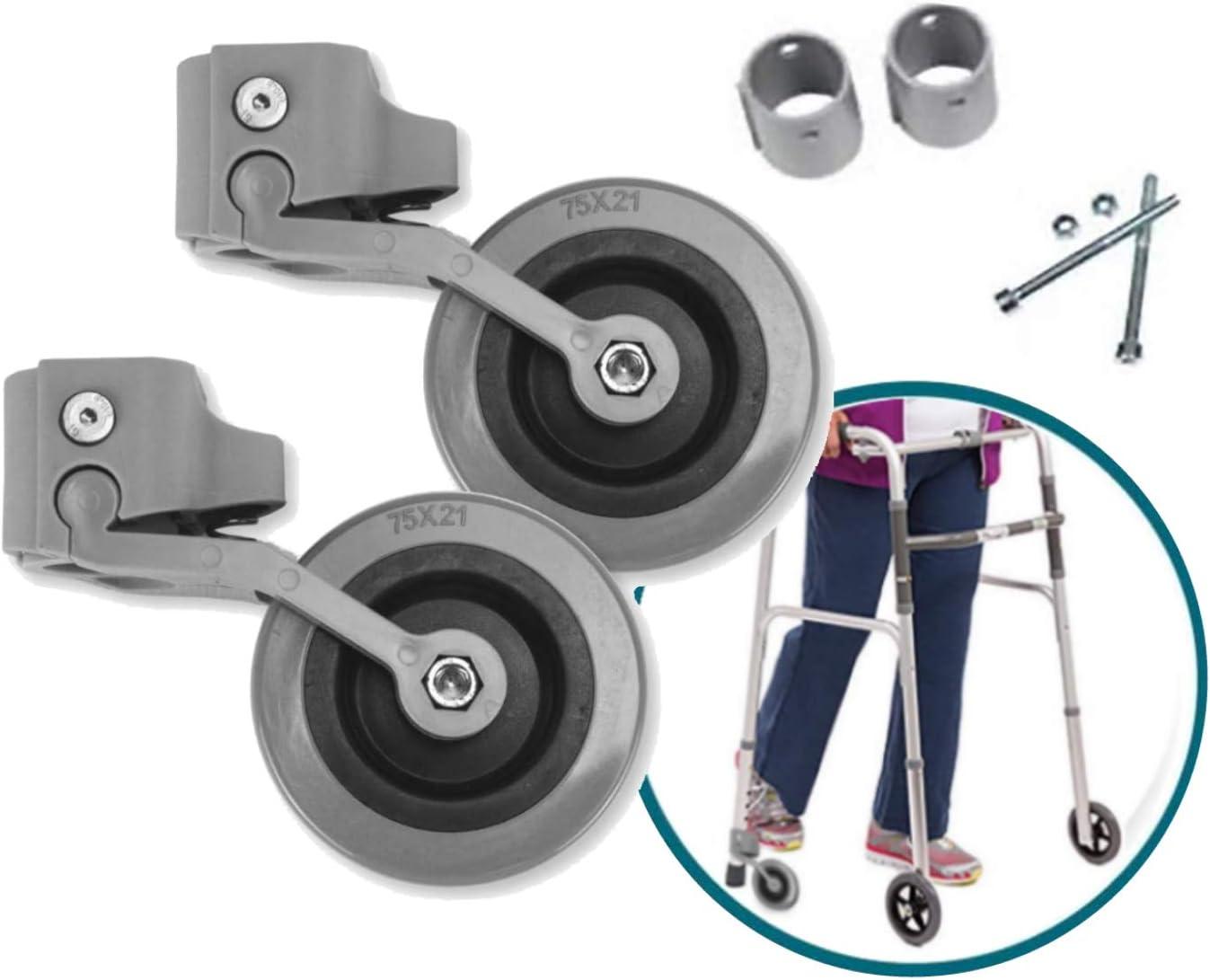 OrtoPrime Kit x2 RUEDAS Andadores Ancianos - Ruedas Traseras Adaptables a Andadores de Adultos - Casquillos Compatibles Tubo de 30mm y 22mm - Freno a la Carga por Presión y Fácil Instalación