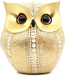 Bird Ornaments Owl Statue for Home Decor (Gold+White), Cute Crafted Figurines for Modern Office Living Room Bedroom Tabletop Decoration, Small Sculpture for Owl Lovers Friend Business