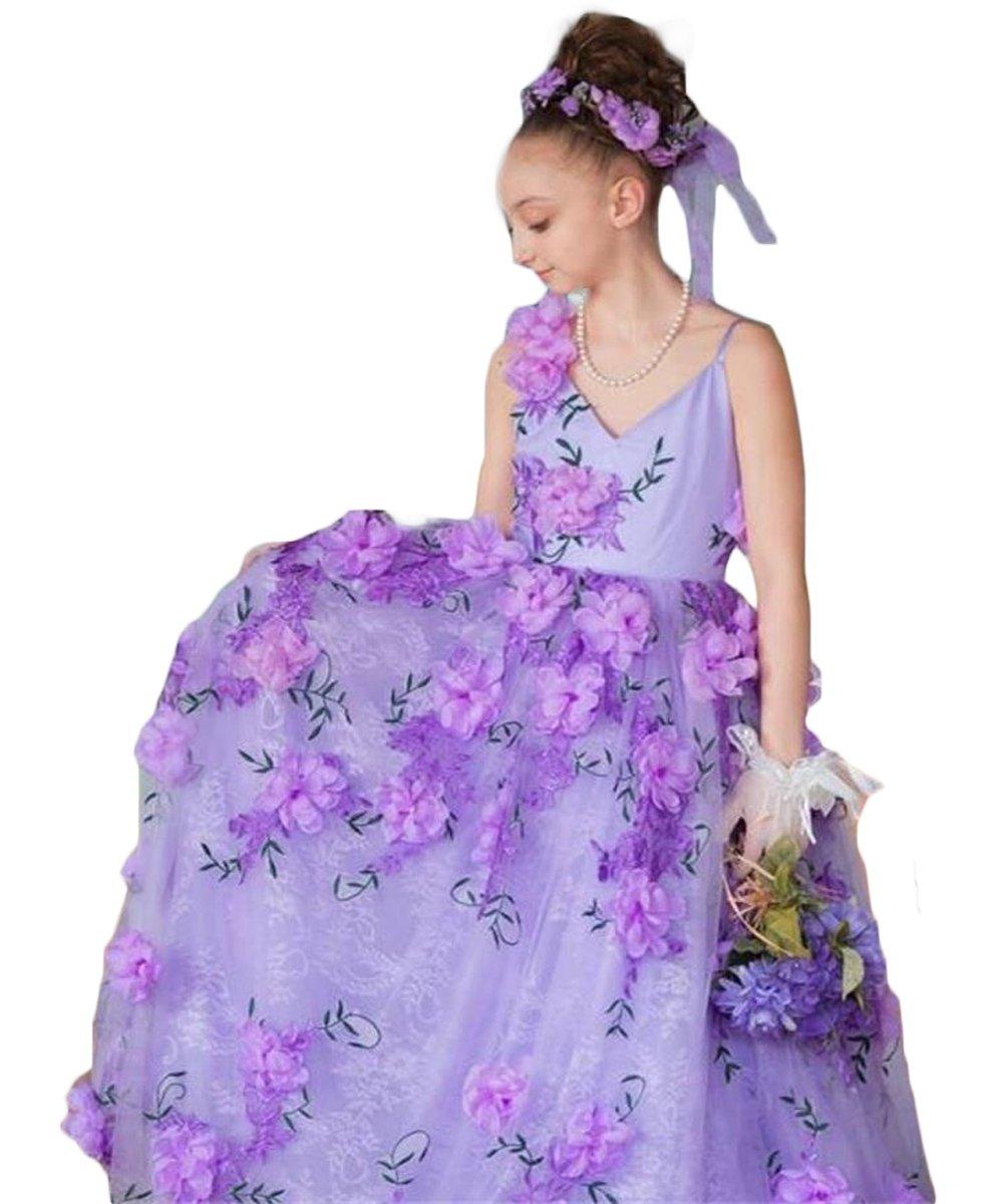 Newdeve Girls Princess Gown 3D Flower Baby Toddler Flower Girls Dress (11, Lavender)