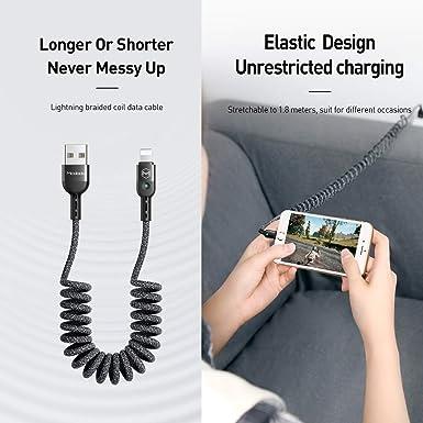 Charge Rapide 3.1A SDBAUX Chargeur de Voiture Compatible//Remplacement pour iPad iPod Phone 11 XS Max XR X 8 7 6 Plus 5s et 1 Port USB 15W avec c/âble r/étractable Double de 2,3 Pieds