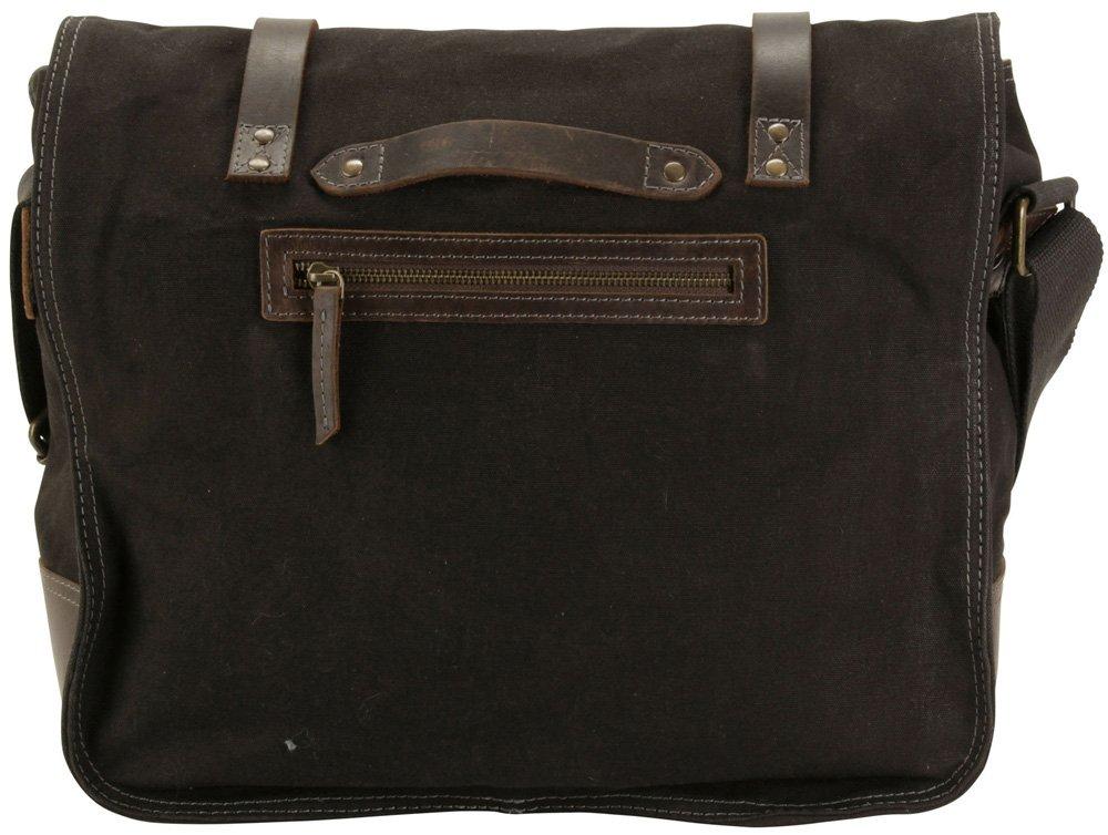 Tar Black DamnDog Haversack 16.5 Canvas Flapover Messenger Bag
