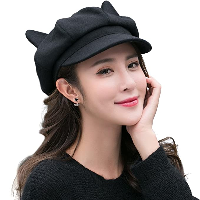 32d109f068051 SIGGI Womens Newsboy Cap Wool Winter Hat Black Ladies Pussy Cat Ears Hats  Cute Visor Beret Cold Weather Hat  Amazon.ca  Clothing   Accessories