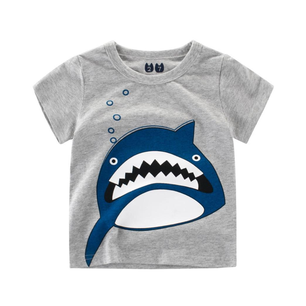 Sixcup Summer Infant Baby Toddler Boys Shorts Sleeve Pullover Sweatshirts Cartoon Dinosaur Shark T-Shirt Tops Outfits Clothes for Kids 2-7 Years