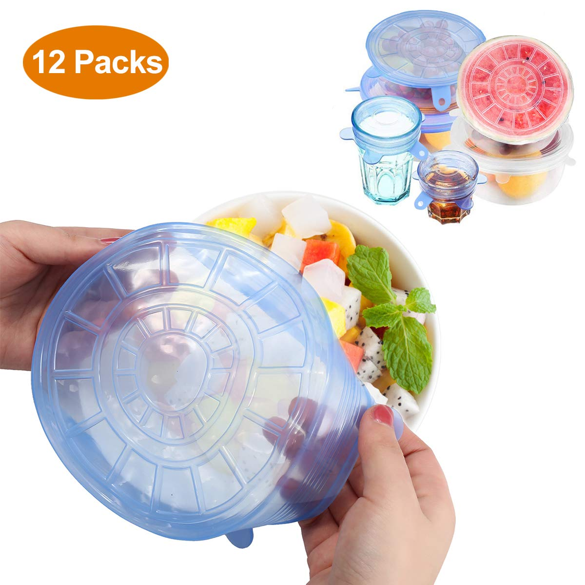 GEMITTO 12 Packs Silicone Lids, Food Grade Reusable Stretchable Bowl Cup Lid, Natural Odorless Silicone Can Covers, 6 Sizes for Plate Bottle, Safe for Dishwasher, Microwave and Freezer, Blue & White
