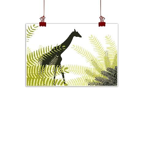 Sunset Glow Wall Art Print Home Decor AfricaSilhouette Of Giraffe Ferns National Park Terrestrial