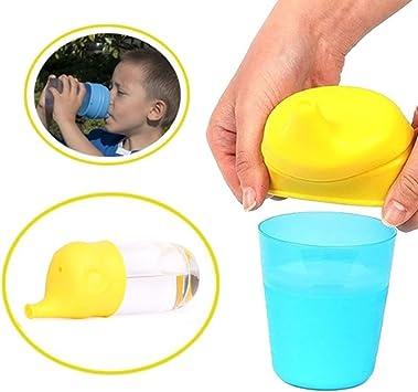 Steellwingsf Kid /él/éphant Forme Ventouse Coque en silicone Sippy couvercles Suck Bouteille Trainingcup