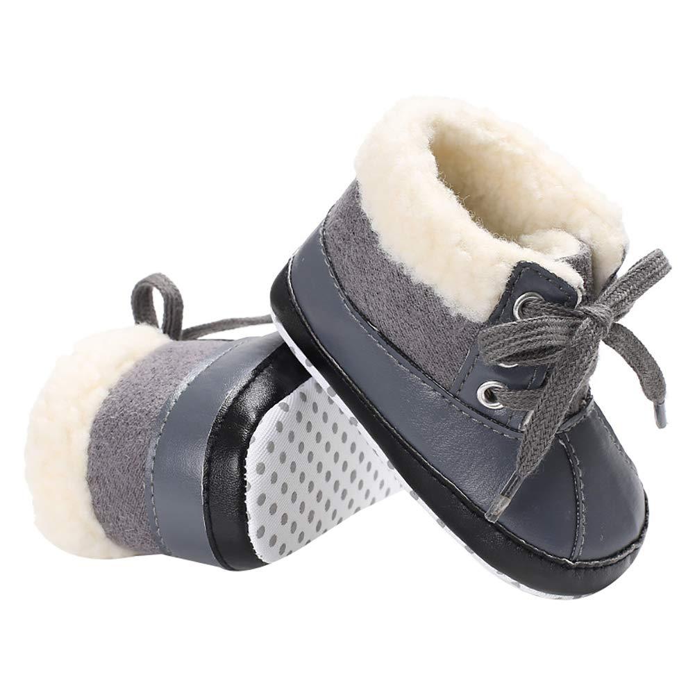 Baby Boys Girls Plush Lace-up Snow Boots Newborn Infant Toddler Winter Warm Non-Slip Soft Sole Prewalker Crib Shoes