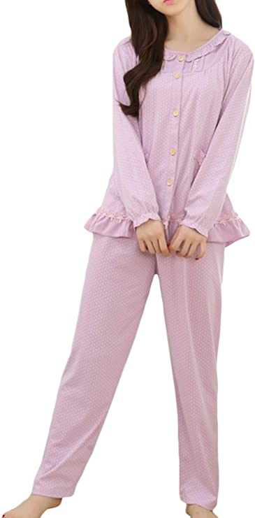 Vintage Nightgowns, Pajamas, Baby Dolls, Robes Asherbaby Womens Two Piece Pajama Set Button-up Top and Pant Loungewear Pjs $23.99 AT vintagedancer.com