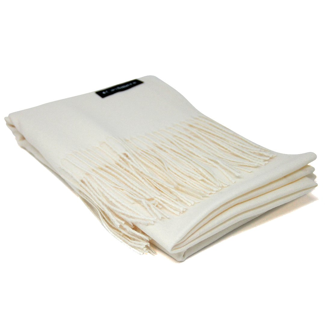 White 100% Cashmere Scarf - Gift Box, Large Size, Removable Tag, Limited Availability by Soft Cashmere