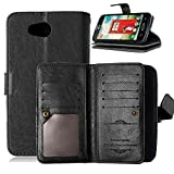 LG Optimus L70 Case, LG Optimus L70 Wallet, TabPow 9 Card Holder Wallet Case PU Leather Flip Cover For LG Optimus L70 (Black)