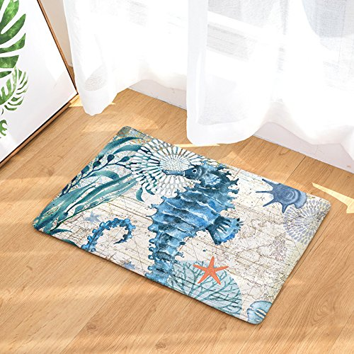 EZON-CH Modern Non Slip Watercolor Sea World Animal Home Bathroom Bath Shower Bedroom Mat Toilet Floor Door Mat Rug Carpet Pad Doormat(19.7X31.5IN)(Hippocampus) by EZON-CH