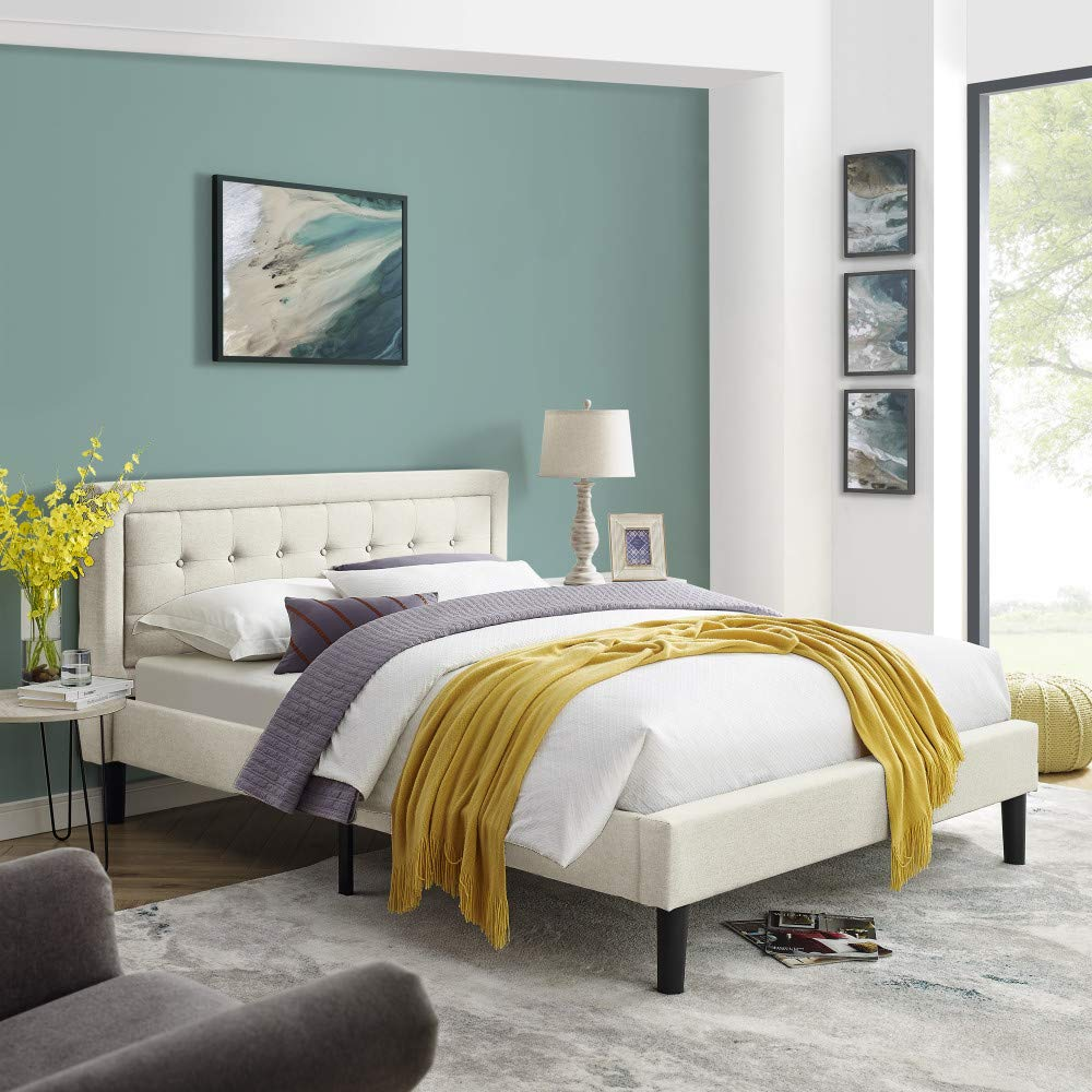Mornington Upholstered Platform Bed   Headboard and Metal Frame with Wood Slat Support   Linen, Queen
