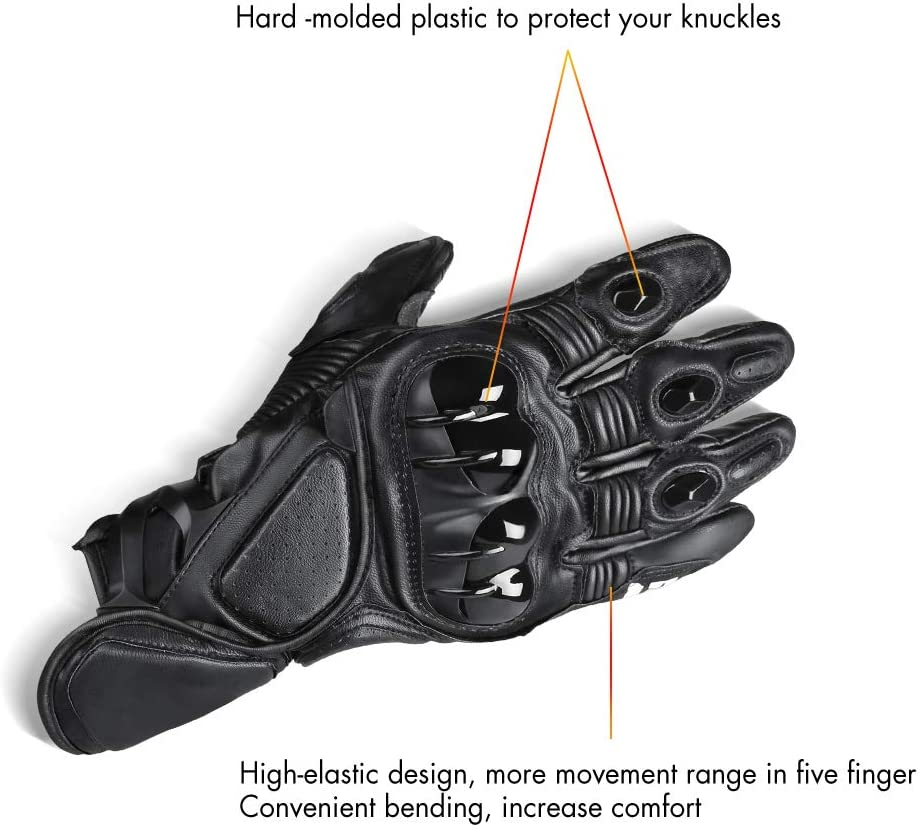 Lavmar Full Finger Racing Gloves Anti-skid Genuine Leather with Touch Screen Rubber /& Hard Knuckle For Outdoor Sports Road Cycling Camping Motorcycle Gloves XL