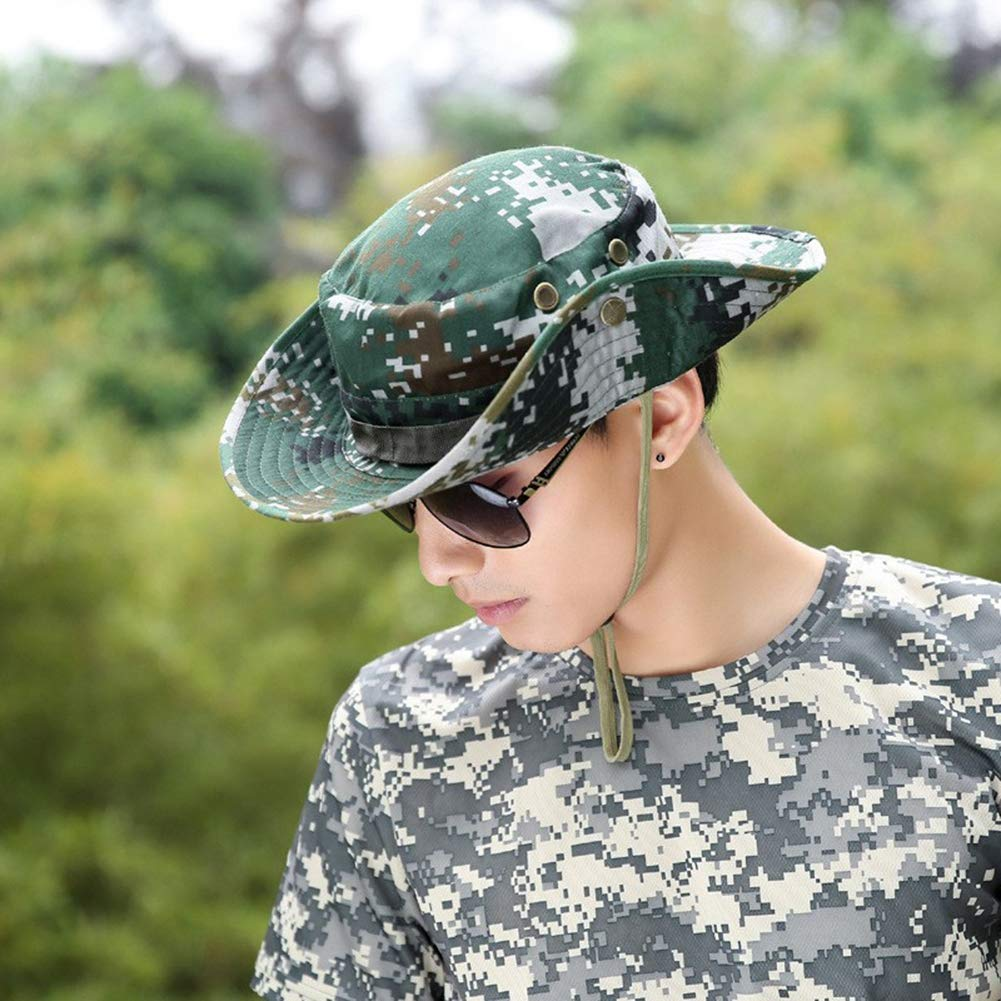 Blaward Boonie Hat Cappello Classico Stile Mimetico Regolabile Cappello Solare UPF 50 Cappello Protettivo per Pesca e Pesca con Cinturino