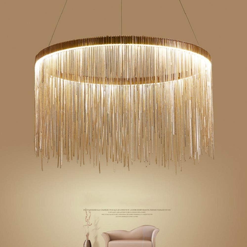 Details about Post Modern Chain Fringe Chandelier Led Silver Rose Golden Finish Ceiling Lamp