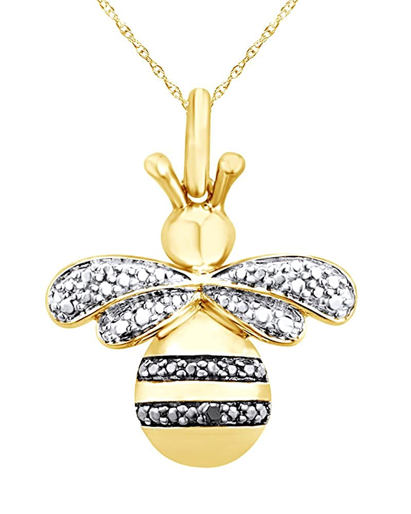 Wishrocks Black Diamond Accent Beaded Bee Pendant Necklace in 14K Gold Over Sterling Silver