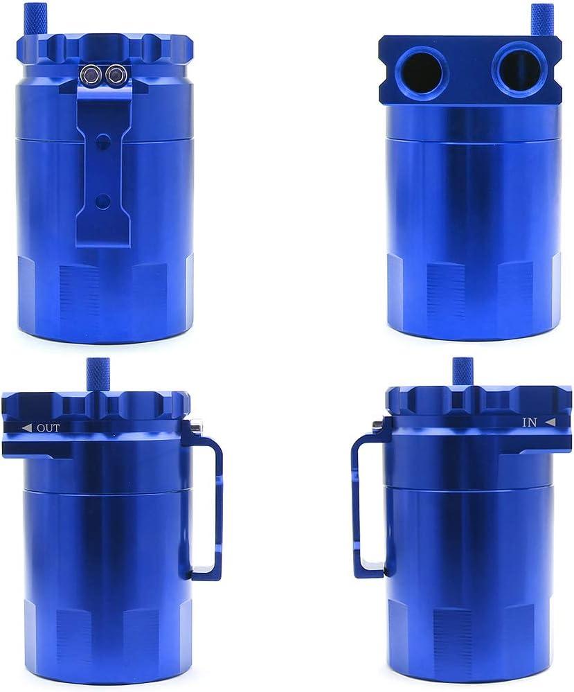 Oil Catch Can Tank Polish Baffled Reservoir Aluminum Universal Car Truck Engine 300ml Blue
