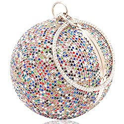 MultiColour Round Ball Clutch With Rhinestone Tassles & Ring Handle