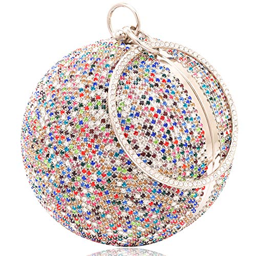Womans Round Ball Clutch Handbag Dazzling Full Rhinestone Tassles Ring Handle Purse Evening Bag (F)