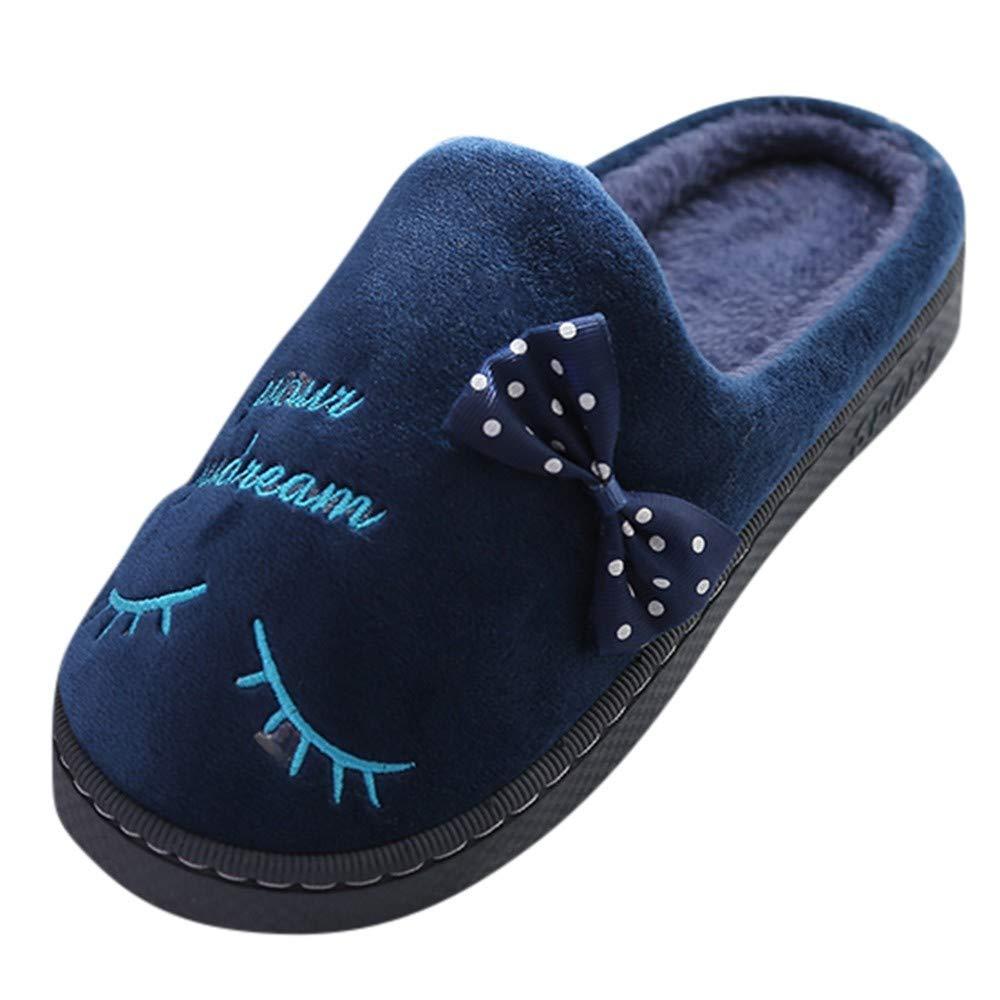 NUWFOR Women Warm Letter Plush Soft Slippers IndoorsAnti-Slip Floor Bedroom Shoes(Dark Blue,6-7.5 M US)