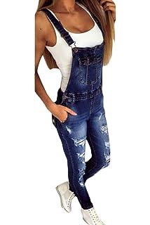 5d14c69a3eb3 Mujer Peto Vaquero con Bolsillo Mono Jeans Casual Slim Fit ...