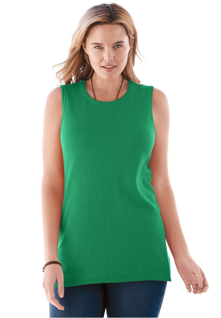 Women's Plus Size Fine Gauge Sleeveless Crewneck Sweater Kelly Green,14/16