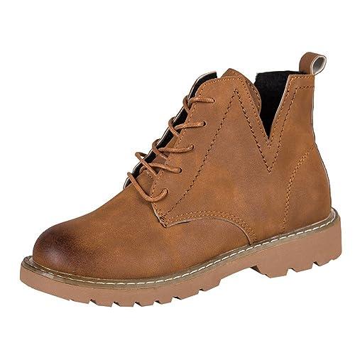 ❤ Tefamor Botas de Mujer Planas con Cordones de Punta Redonda de Mujer Moda Zapatos Casuales de Gamuza Martin Sneakers Gimnasia Mocasines Zapatillas: ...