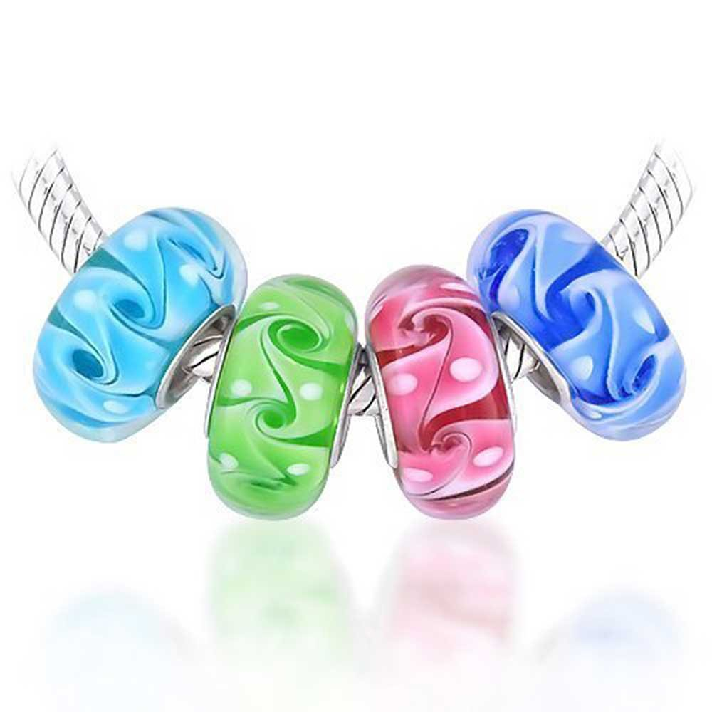 Wave Swirl Murano glass Lampwork Bundle Set Vacation Charms 925 Sterling Silver Ocean Beads