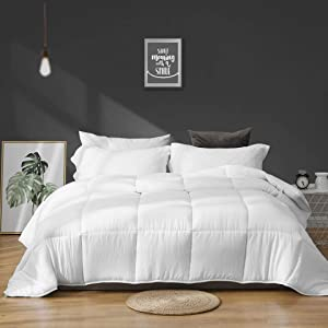 APSMILE 3 Pieces All-Season Down Alternative Comforter Set with Shams, Ultra-Soft Cloud Fluffy Cooling Breathable Fast-Drying Microfiber Quilted Bed Comforter Duvet (King, White)