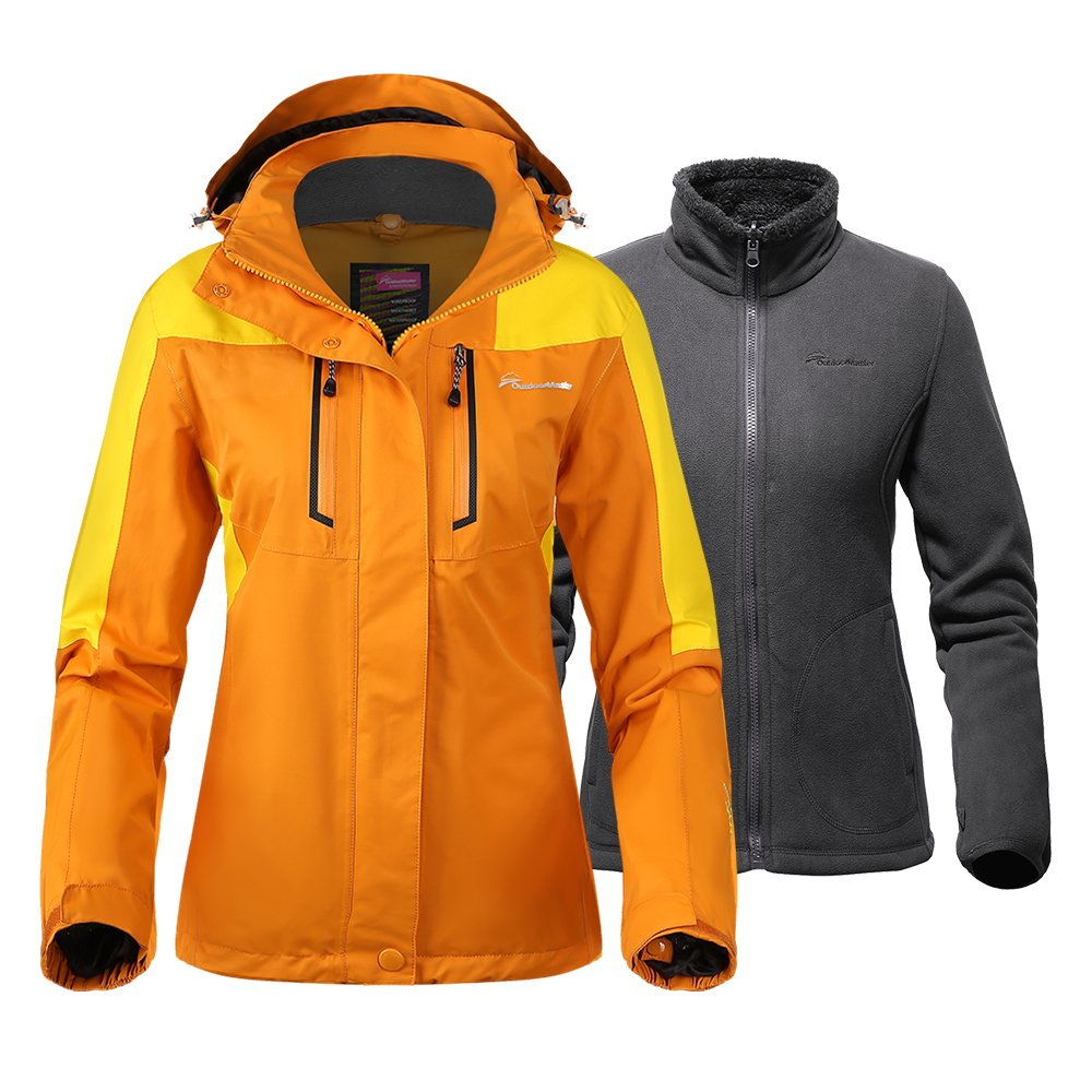 OutdoorMaster Women's 3-in-1 Ski Jacket - Winter Jacket Set with Fleece Liner Jacket & Hooded Waterproof Shell - for Women (Papaya Orange,S)