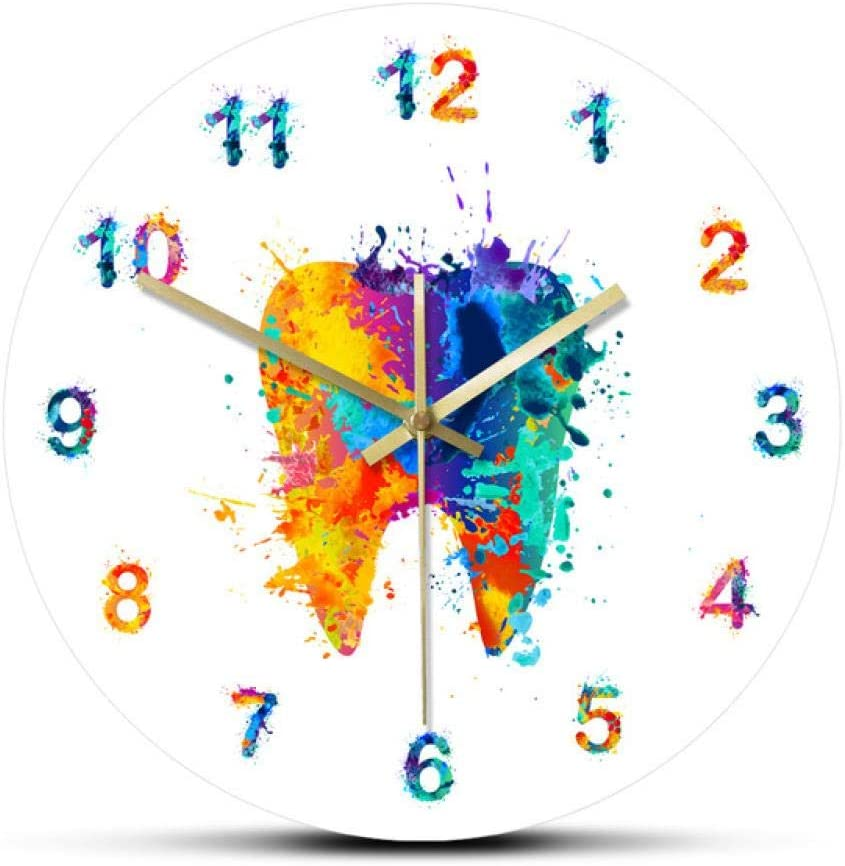 Mudo moderno DIY Reloj de pared grande Reloj de pared con impresión de pintura de acuarela, Clínica dental médica, Arte de pared, Reloj de pared sin tictac, Ortodoncista, Idea de regalo para dentista,