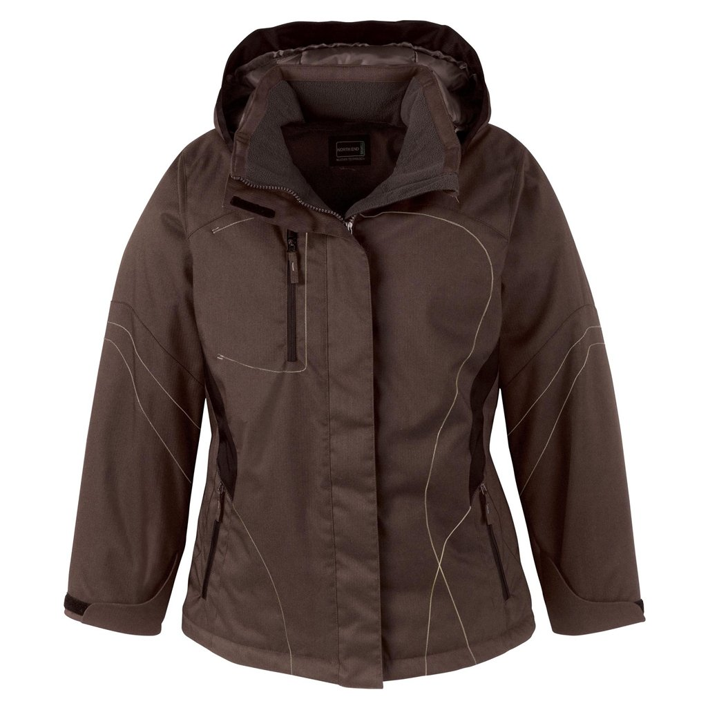 Ash City Ladies Two-Tone Textured Insulated Jacket (X-Small, Chocolate w/Dark Chocolate)