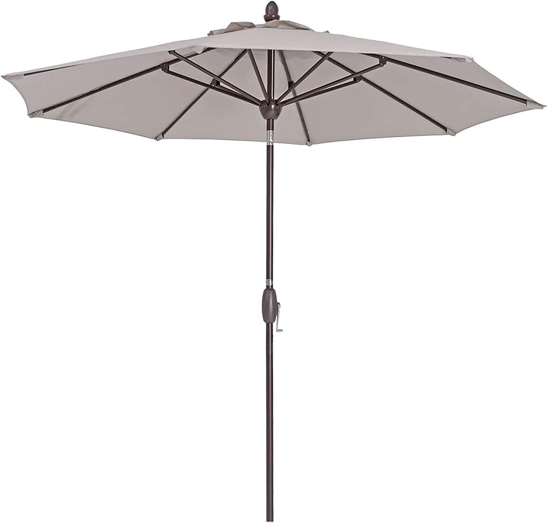 Outdoor Patio Umbrella 9 ft Patio Market Table Umbrella with Push Button Tilt, Crank and Umbrella Cover for Garden, Lawn, Deck, Backyard & Pool, Begie
