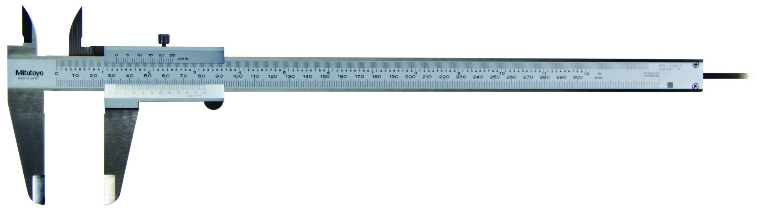 Mitutoyo 530-119 Vernier Caliper, Stainless Steel, Inch/Metric, 0-12'' Range, +/-0.0015'' Accuracy, 0.001'' Resolution