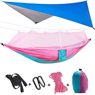 TOPCHANCES Upgrade Ultralight Portable Nylon Camping Hammock Mosquito Net with Rain Fly Tent Tarp for Outdoor, Hiking, Backpacking, Travel (Pnk+Blue Hammock with Pink Net): Sports & Outdoors